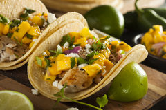 Homemade Baja Fish Tacos. With Mango Salsa and Chips Royalty Free Stock Photography