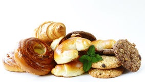 Homemade baked buns brioche, crescent rolls, croissants Royalty Free Stock Photography