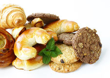 Homemade baked buns brioche, crescent rolls, croissants Royalty Free Stock Image