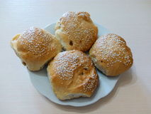 Homemade baked buns with sesame seeds Stock Photo