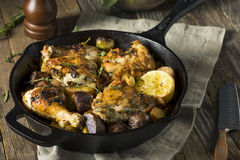 Homemade Baked Chicken in a Skillet Royalty Free Stock Photo