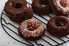 Homemade baked chocolate donuts Royalty Free Stock Images