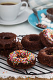Homemade baked chocolate donuts Royalty Free Stock Photos
