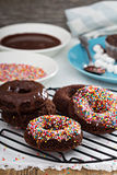 Homemade baked chocolate donuts Stock Photo