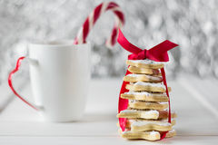 Homemade baked Christmas tree from sugar star cookies Royalty Free Stock Images