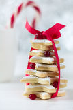 Homemade baked Christmas tree from sugar star cookies Stock Photos