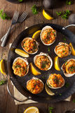 Homemade Baked Clams with Lemon Stock Photography