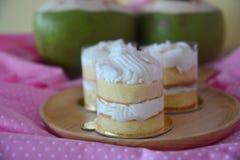 Homemade baked Coconut Fresh Cream Cake Stock Image