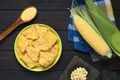Homemade Baked Corn Chips Stock Photo