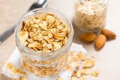 Baked Oatmeal, Almond and Honey Granola royalty free stock photography