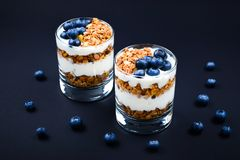Homemade baked granola with yogurt and blueberries stock photography