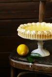 Homemade baked lemon tart cake with meringue Stock Photos