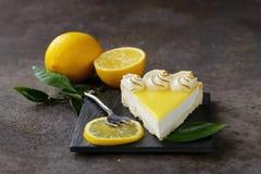 Homemade baked lemon tart cake with meringue Royalty Free Stock Photo