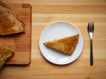 Homemade baked meat pie on white plate Stock Photo