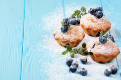 Homemade baked muffin with blueberries, fresh berries, mint, powdered sugar on blue wooden background. Top view. Stock Photo