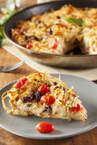 Homemade Baked Pasta Pie. With Tomato and Basil Stock Photography