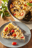 Homemade Baked Pasta Pie. With Tomato and Basil Royalty Free Stock Photos