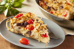 Homemade Baked Pasta Pie. With Tomato and Basil Stock Photos