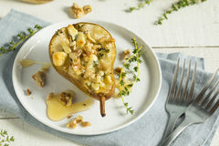 Homemade Baked Pears with Blue Cheese Stock Image