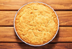 Homemade baked pie in the baking dish Royalty Free Stock Photo