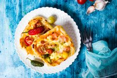 Homemade pizza sandwiches on a plate Royalty Free Stock Photography