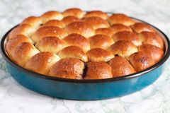 Homemade Baked Rolls in a Pan on Marble Background stock photos
