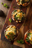 Homemade Baked Stuffed Portabello Mushrooms stock image