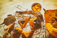Homemade baked sweet autumn pumpkin stock images