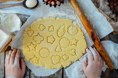 Homemade bakery making, gingerbread cookies close-up.  xmas swee Stock Image