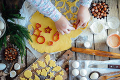 Homemade bakery making, gingerbread cookies close-up.  xmas swee Royalty Free Stock Photo