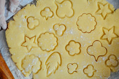 Homemade bakery making, gingerbread cookies close-up.  xmas swee Royalty Free Stock Images