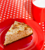 Homemade baking apple pie with cup of milk Stock Photography