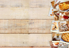 Homemade baking collage with cookies, fresh bread, apple pie and muffins over wooden background. Stock Photography