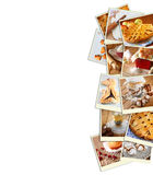 Homemade baking collage with cookies, fresh bread, apple pie and muffins over wooden background Royalty Free Stock Images