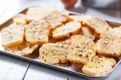 Homemade baking toast with sugar and sesame stock photo