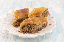 Homemade baklava dessert on a plate Royalty Free Stock Images