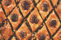 Homemade baklava with honey and nuts, traditional eastern food. Homemade baklawa with honey and nuts, traditional eastern sweet food Stock Photography
