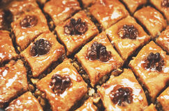 Homemade baklava with honey syrup and walnut. Homemade sweet baklava with honey syrup and walnut Stock Photo
