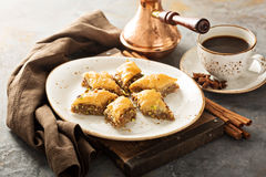 Homemade baklava with nuts and honey royalty free stock images