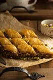 Homemade baklava with pistachios and hazelnuts Stock Photos