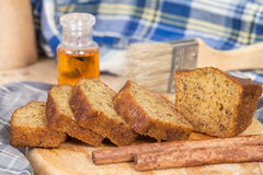 Homemade banana bread sliced Royalty Free Stock Images