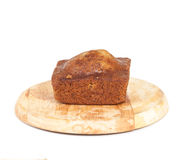 Homemade banana bread sliced on white Royalty Free Stock Photography