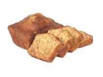 Homemade banana bread sliced on white Royalty Free Stock Images