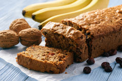 Homemade banana bread on wooden background. Stock Image