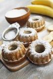 Homemade banana cake with powdered sugar Royalty Free Stock Image