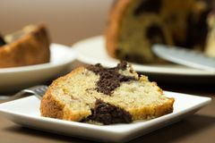 Banana chocolate bundt cake royalty free stock photos