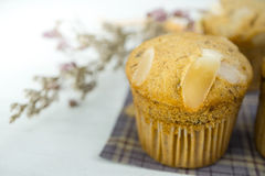 Homemade banana cup cake with sliced almond on wood background Royalty Free Stock Images