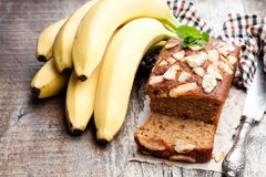 Homemade Banana Loaf Cake With Fresh Bananas On Wooden Table Royalty Free Stock Photography