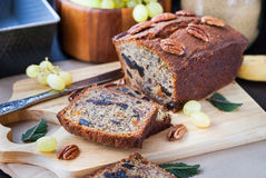 Homemade banana loaf. Delicious fresh homemade banana bread (cake Stock Images