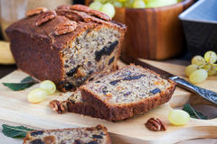 Homemade banana loaf. Delicious fresh homemade banana bread (cake Royalty Free Stock Photo